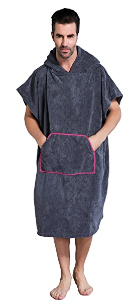 72f2ac9528a6c6 Winthome Changing Towel Poncho Robe with Hood & Pocket   One Size Fits All  (Gray
