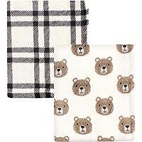 Hudson Baby Unisex Baby Cozy Plush Luxury Blankets 2pk, Bear, One Size