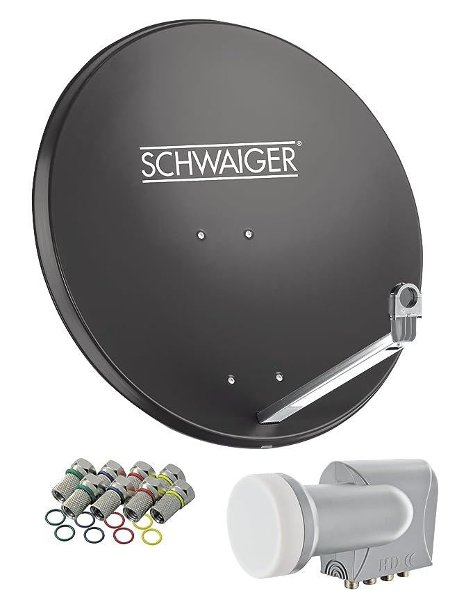 SCHWAIGER -548- Sat Anlage, Satellitenschüssel mit Quad LNB (digital) & 8 F-Steckern 7 mm, Sat Antenne aus Aluminium, Anthraz