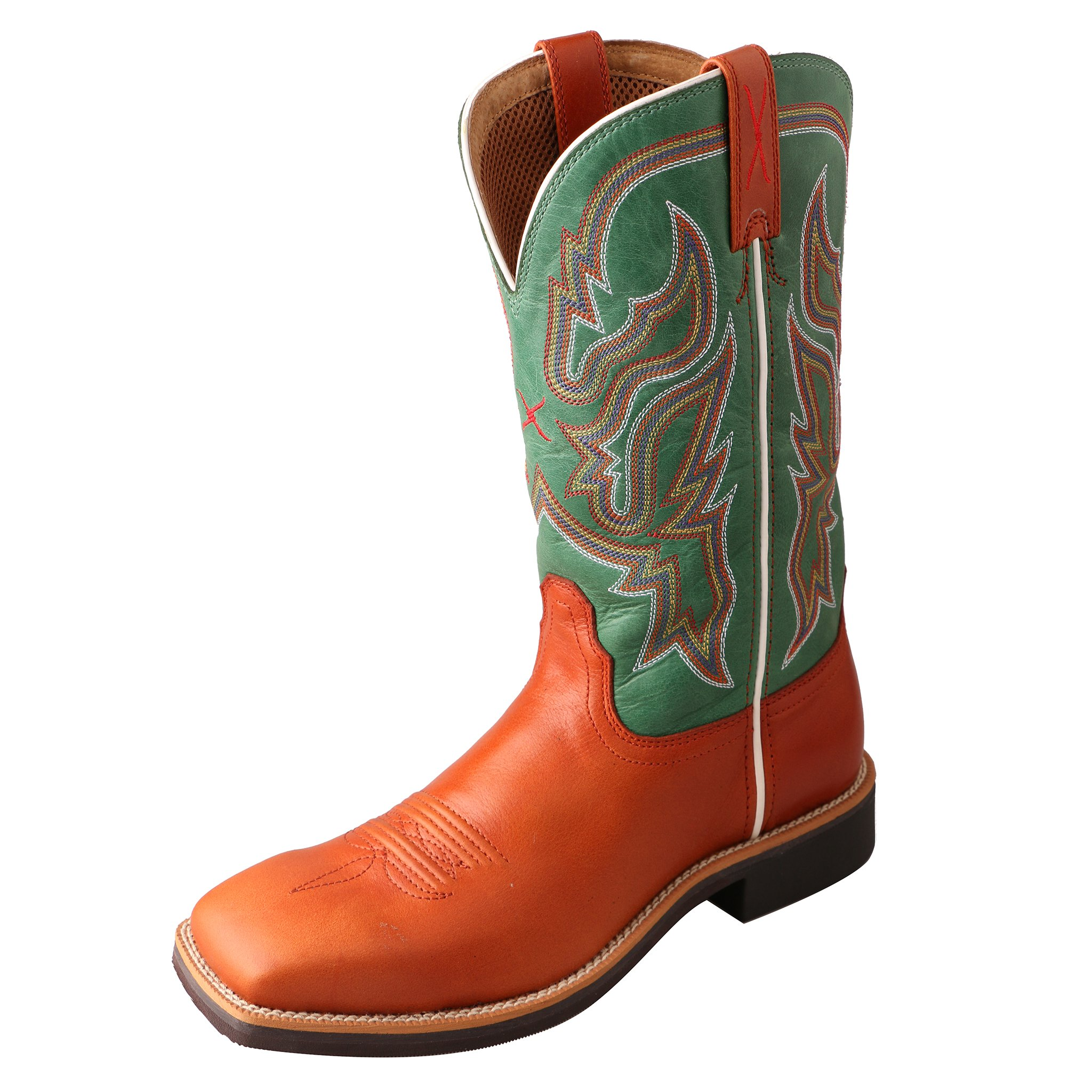 Twisted X Women's Neon Green Top Hand Cowgirl Boot Square Toe Cognac 11 M US