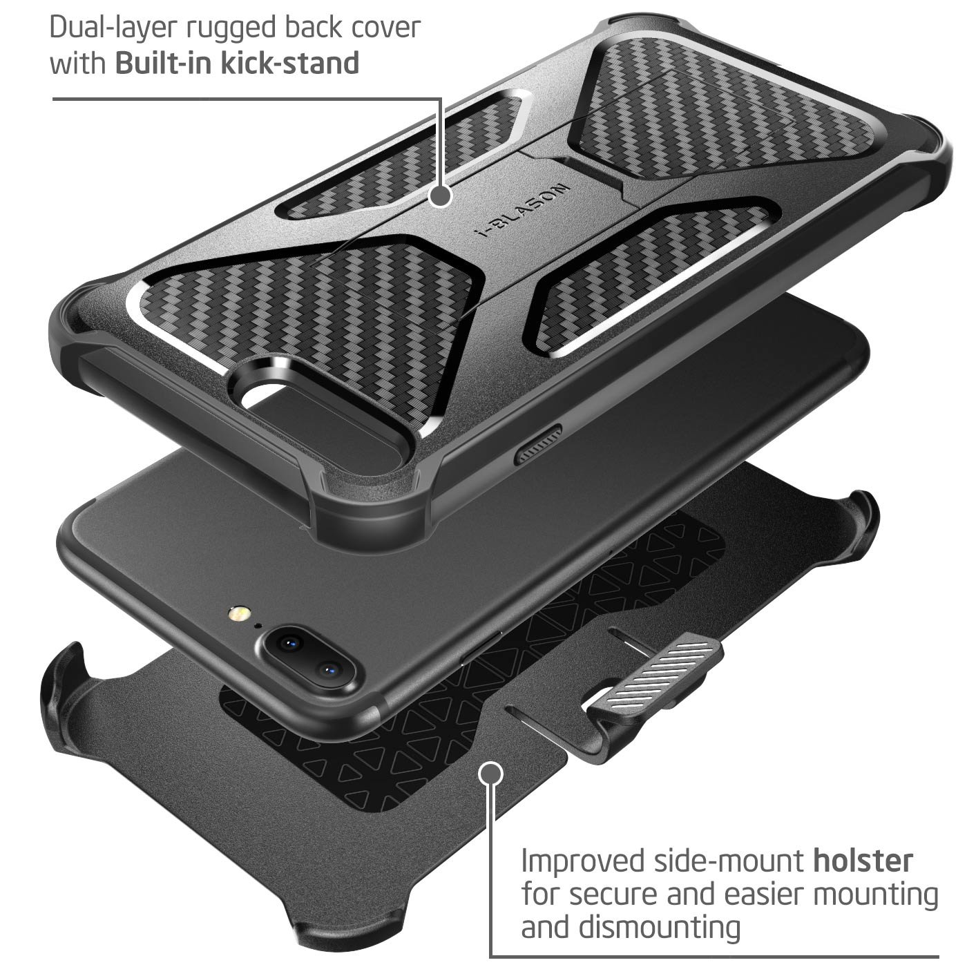iPhone 8 Plus Case, i-Blason Transformer [Kickstand] Apple iPhone 8 Plus 2017 [Heavy Duty] [Dual Layer] Combo Holster Cover case with [Locking Belt Swivel Clip] (Compatible with iPhone 7 Plus)(Black) by i-Blason (Image #3)