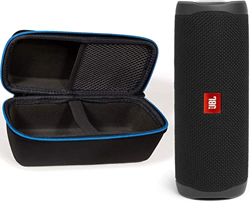 JBL Flip 5 Waterproof Portable Wireless Bluetooth Speaker Bundle with divvi Protective Hardshell Case – Black