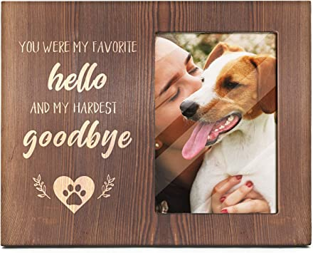 4x6 Inch Light Up Pet Picture Frame for Dog and Cat Memorial Gifts YEASL Wood Dog Picture Frame