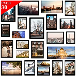 YISMEET Magnetic Photo Frame, 30 Pack Picture Collage Frame, Holds 4X6, 3.5X5, 3X4.5, 2.5X3.5, 2X3, for Refrigerator, Dishwasher, Locker Magnetic Board and Other Metallic Surfaces, Black