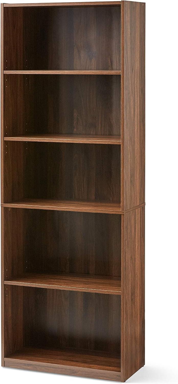 Mainstay Orion Wide 5-Shelf Bookcase, Canyon Walnut