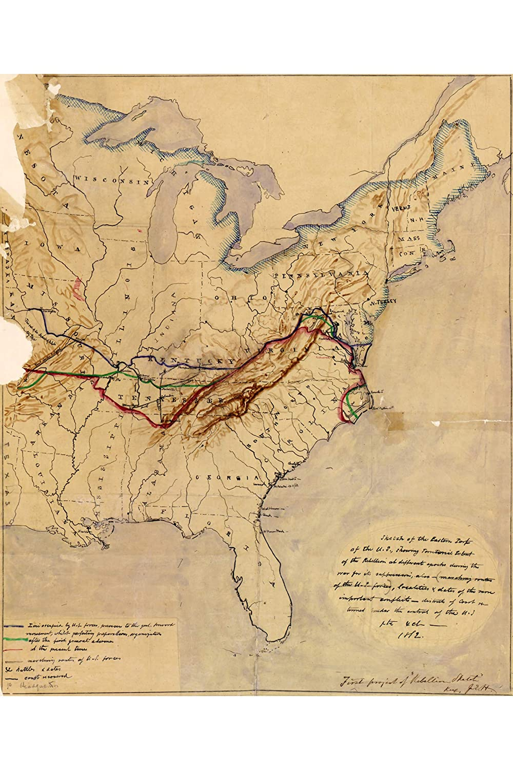 Amazon.com: History Prints Map of Eastern Union and ...