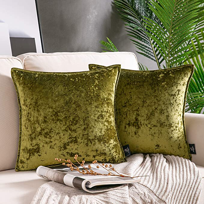 60X80cm 60x60cm Crushed Velvet Pair Filled Cushion Luxury Plush Plain 45x45cm