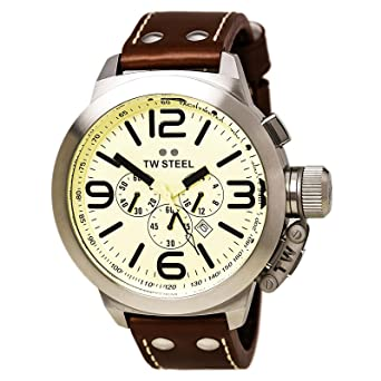 TW Steel Mens TW3 Canteen Brown Leather Chronograph Dial Watch