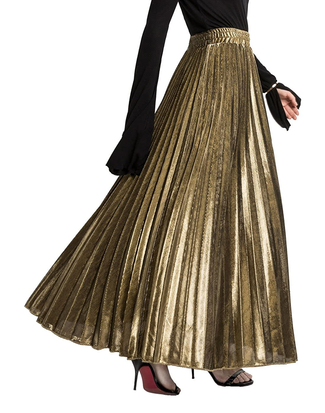 c7df67a47 Imported Stretched high waist, Pull on closure. Shiny metallic long maxi  beach skirt with pleats. Solid color: gold, silver, black, blue, red