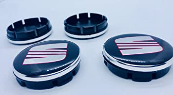x4 Alta Calidad Asiento 55 mm aleación Rueda Badge Rojo Cromo Negro Logo Emblema Mediados Hub