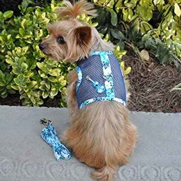 Doggie Design Mesh Dog Harness with Leash Ukuleles and Surfboards XS-L