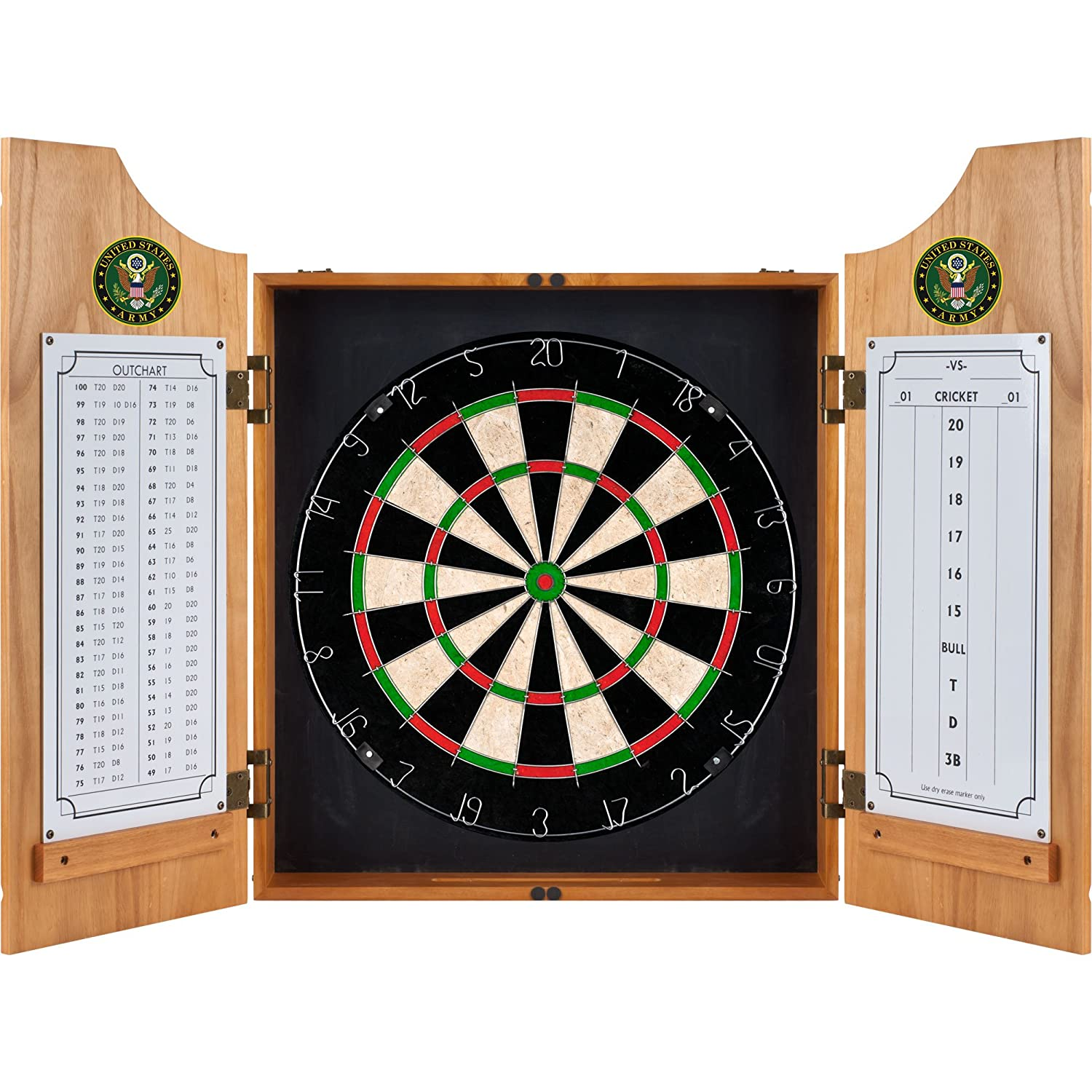 Amazon United States Army Wood Dart Cabinet Set Dartboard