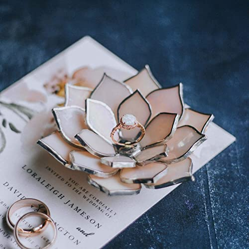 Pink Celosia Geometric Ring Holder