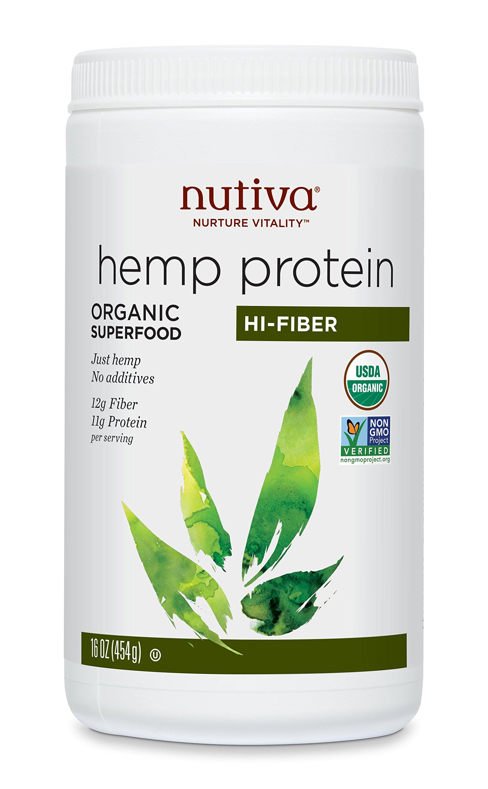 Nutiva Organic, Cold-Processed Hemp Protein from non-GMO, Sustainably Farmed Canadian Hempseed, Hi-Fiber, 16-Ounce