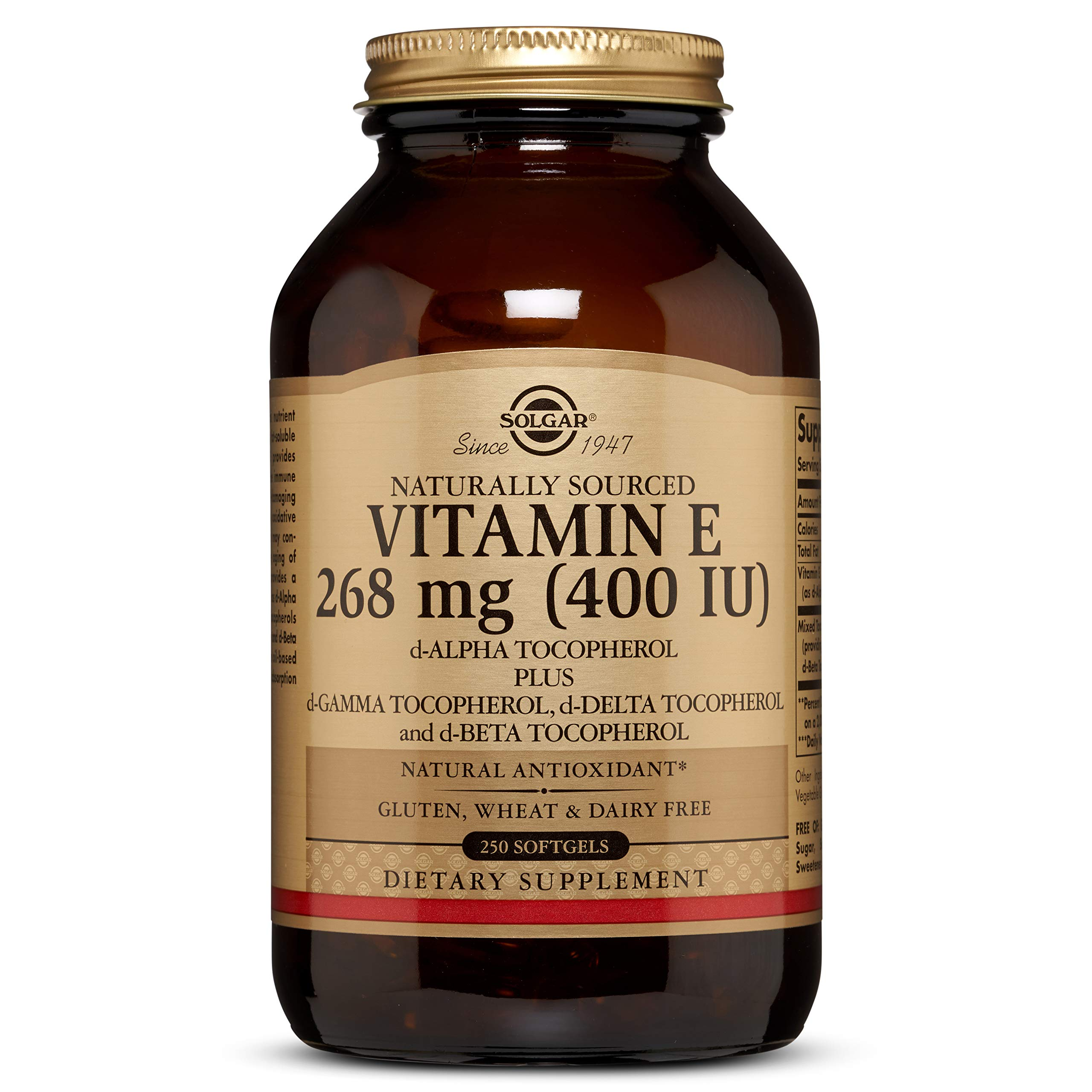 Vitamin E 268 MG (400 IU) Mixed Softgels (d-Alpha Tocopherol & Mixed Tocopherols) - 250 Count