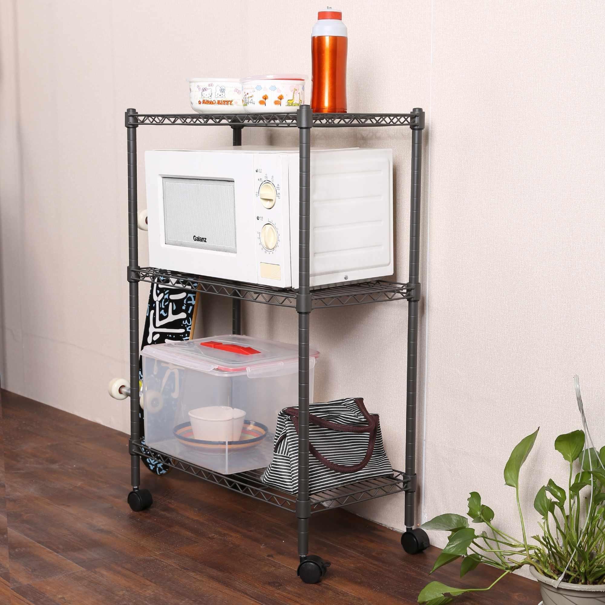 Keland Adjustable Metal 3-Tier Shelving Unit, 23.4''x 11.7''x 33.5'' Storage Rack On Wheels for Kitchen,Bathroom,Livingroom (Gray)