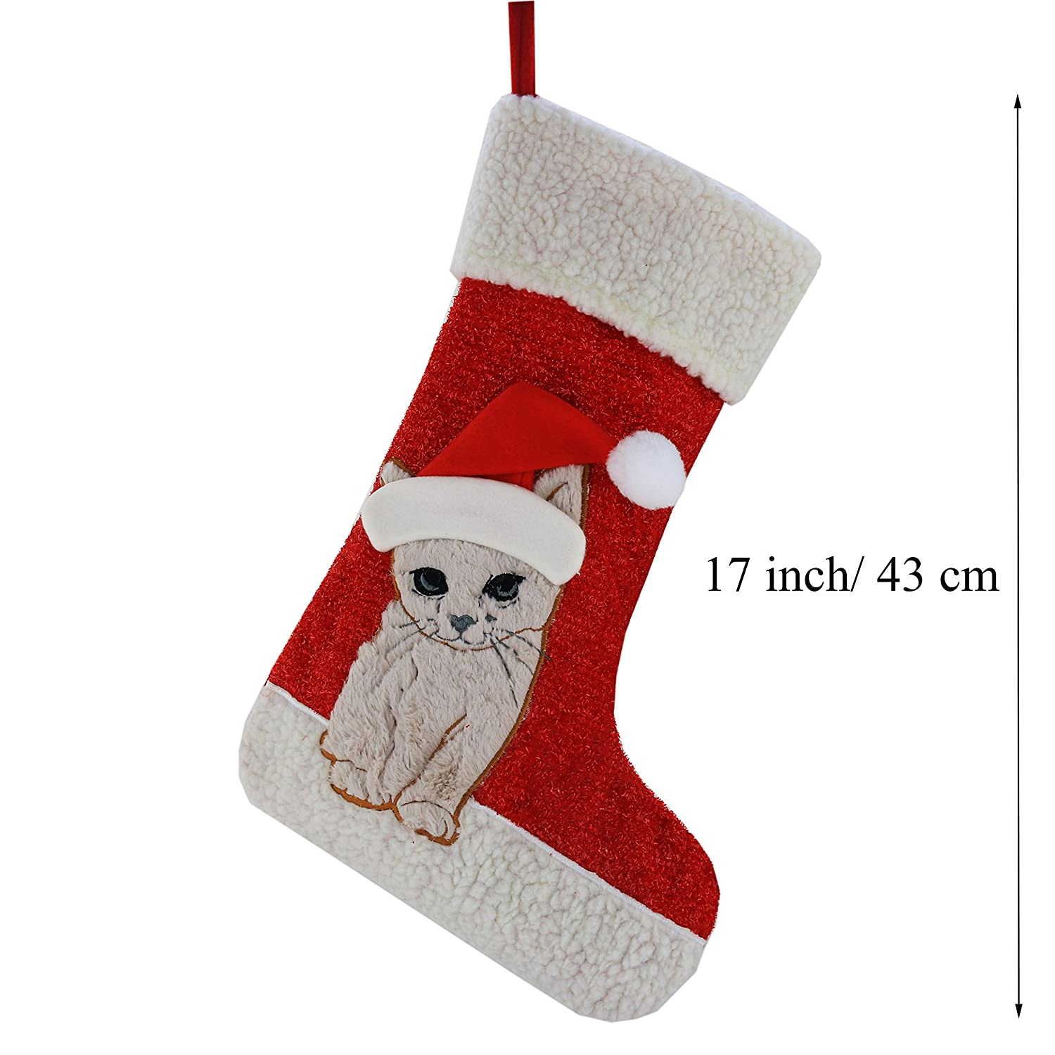 Amazon.com: Wewill Christmas Holiday Pet Theme Embroidered Stockings ...