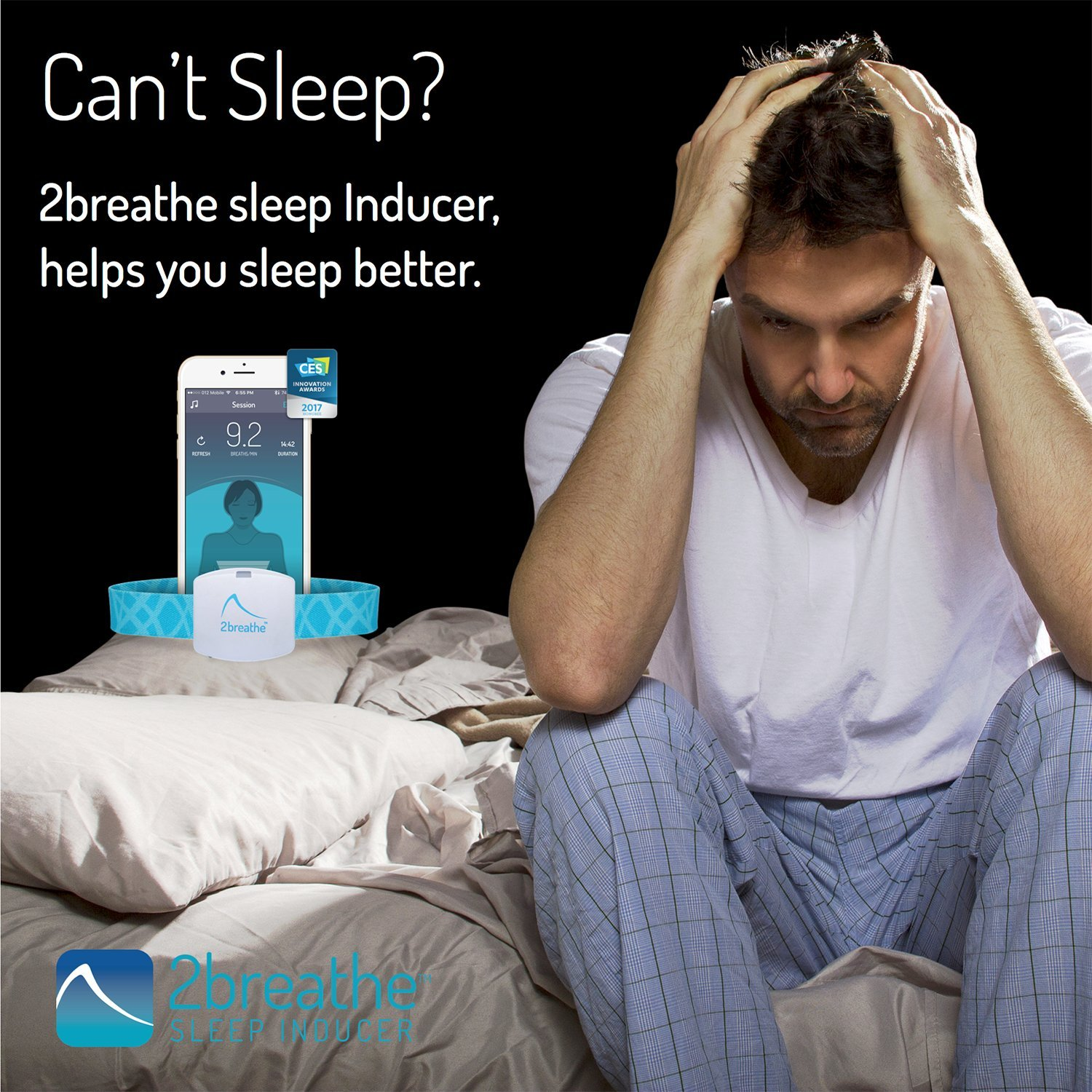 2breathe Sleep Inducer - Sleep Sound System. Smart Device and Mobile App to Induce Sleep. Guides You to Slow Breathing with Prolonged Exhalation using Sounds. Natural Sleep Therapy Machine by RESPeRATE (Image #3)