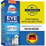 Cliny Universal Pet Eye Wash Cleaner for Dogs & Cats - Natural Gentle Eye Infection Treatment - Tear Stain & Dirt Crust and D