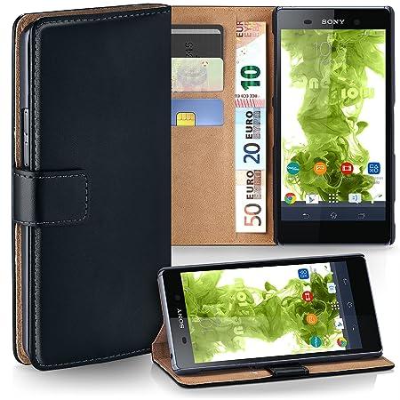 moex Sony Xperia Z2 | Hülle Schwarz mit Karten-Fach 360° Book Klapp-Hülle Handytasche Kunst-Leder Handyhülle für Sony Xperia