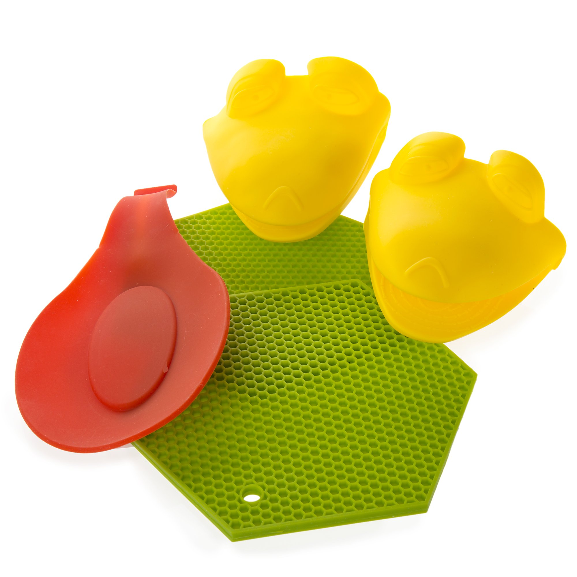 TJQ Depot LLC Silicone Pot Holders With Silicone Oven Mitts and Silicone Spoon Rest - Make your cooking time in the kitchen safe with these great products