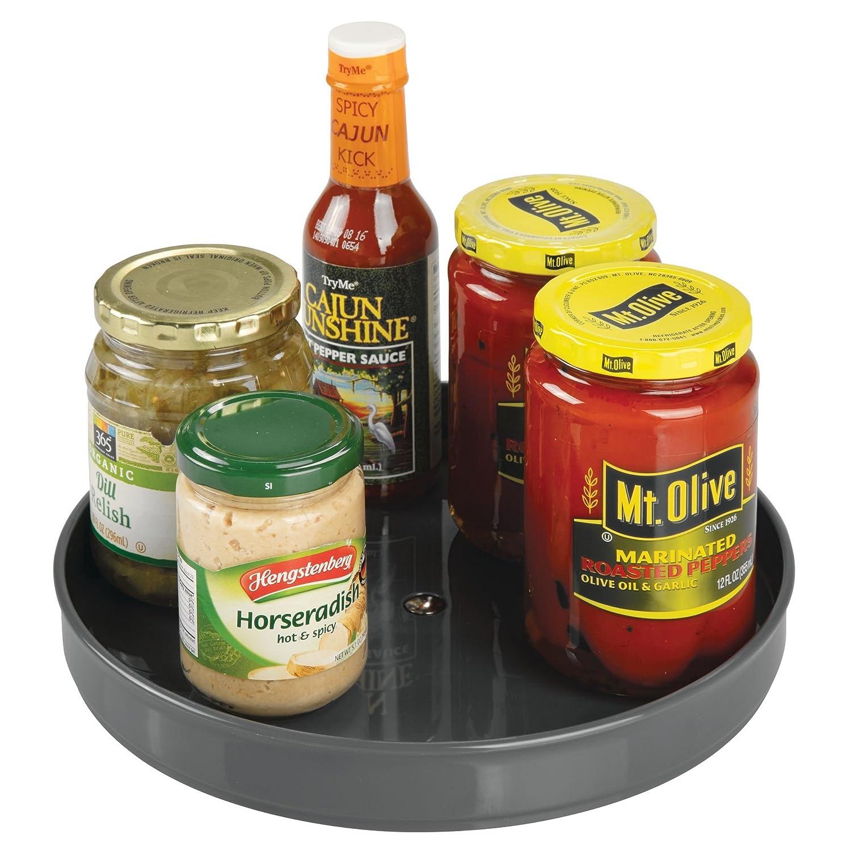 mDesign Plato giratorio para estantes de cocina - 22,9 cm de diámetro - Práctico soporte para especias para los armarios de la cocina - Especiero giratorio ...