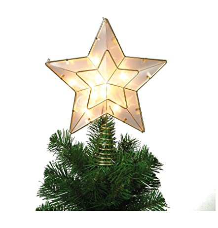 Amazon.com: White and Gold Star Light Up Christmas Tree Topper with ...