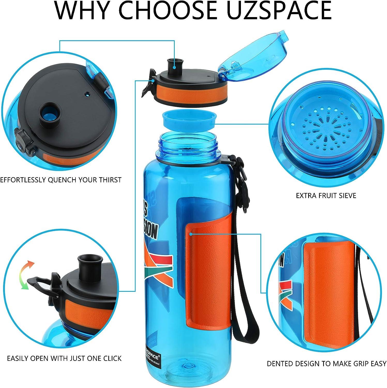 Wasser Fahrrad BPA-frei Schnelle Wasserdurchfluss UZSPACE Trinkflasche Tritan Wasserflasche Sport 500ml /& 800ml /&1.2L /& 1.5L Ideale Sportflasche
