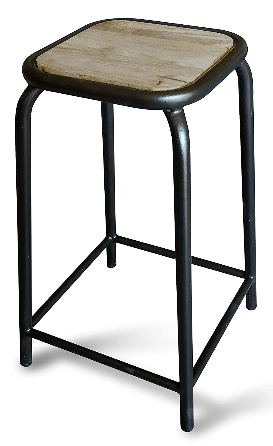 Wooden top bar stool with metal base in black powder coating amazon in home kitchen