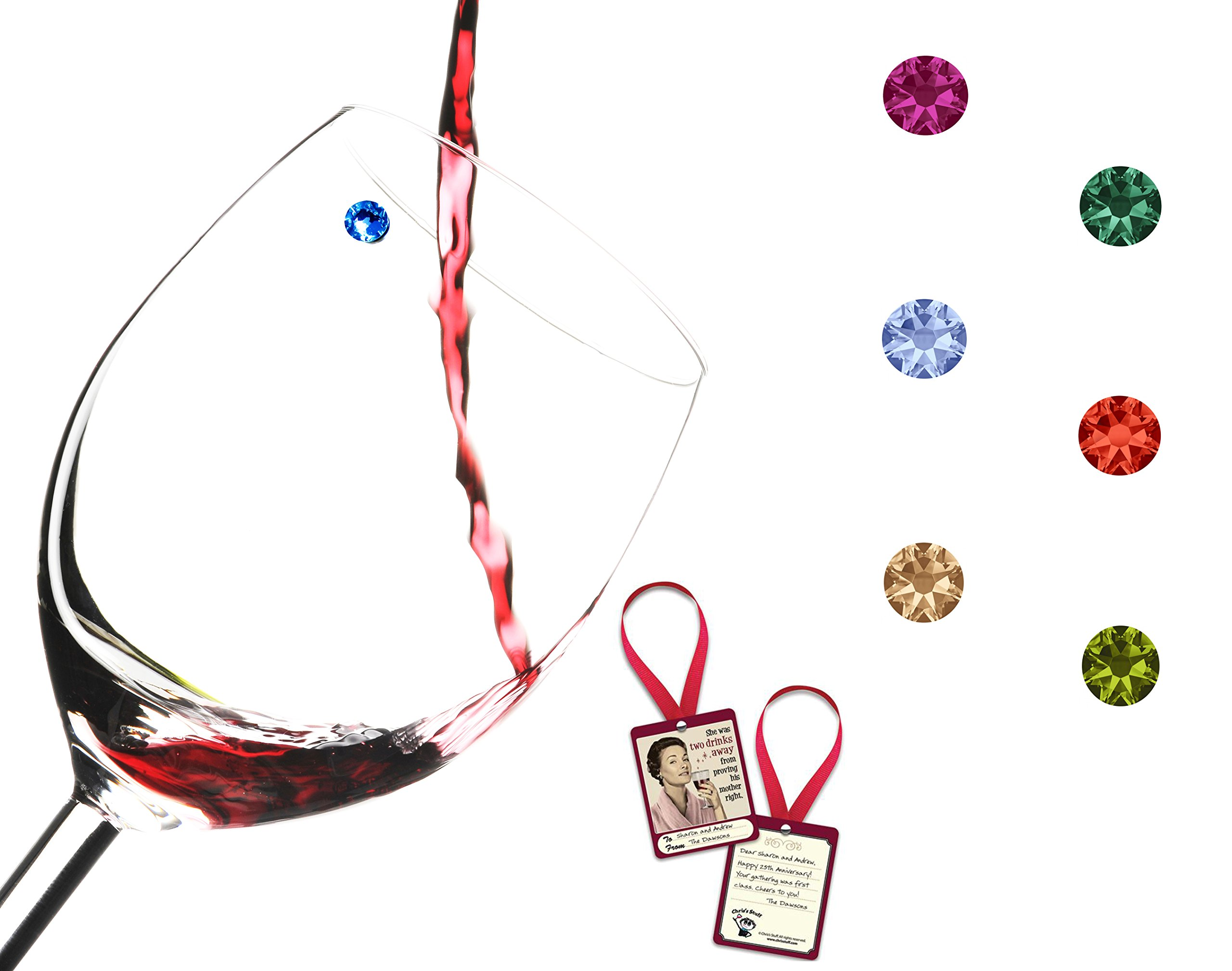 Swarovski Crystal Magnetic Wine Glass Charms - Set of 6 Fall Colors - Works with Any Type of Glass - Great Party or Gift Idea - Bottle Tag Included