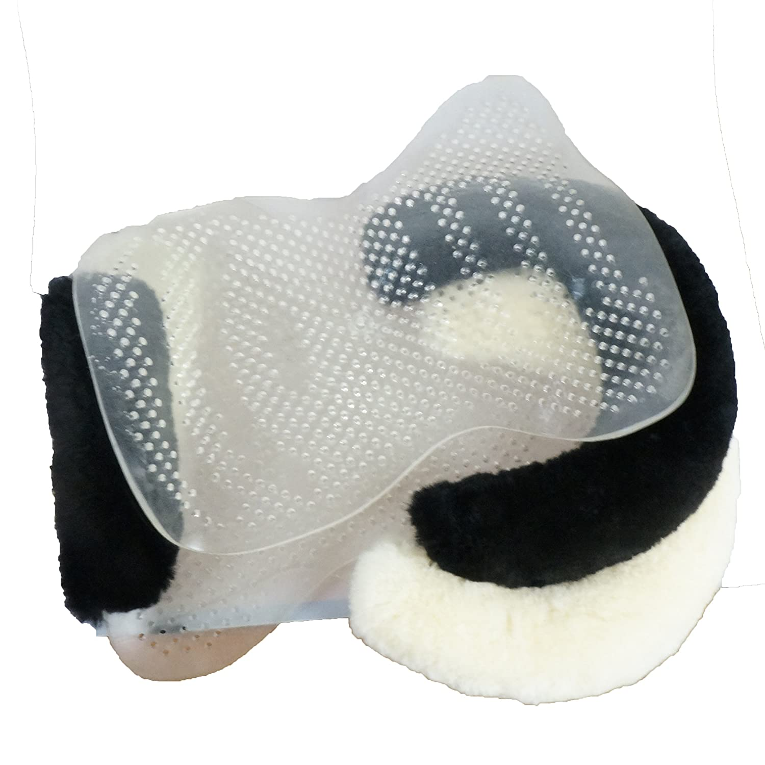 Training Training Jumping Dressage Transparent Schooling Golden Mall Gel Half Saddle Pad with Rolled Edge Spine Free Sheepskin Perfect for Eventing