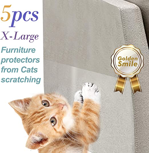 Amazon Com Golden Smile 5 Pcs Cat Scratch Furniture Protectors Xl Size 17 Inches X 12 Inches Stop Cat Scratching Sofa And Furniture Pinless Self Adhesive Pads Cat Scratch Deterrent Cat Scratching Post