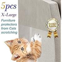 5 PCS cat Scratch Furniture Protectors. XL Size 17 inches X 12 inches. Stop cat Scratching Sofa and Furniture. Pinless self-Adhesive Pads. Cat Scratch Deterrent. Cat Scratching Post.