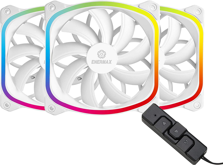 Enermax UCSQARGB12P-W-BP3 Squa RGB PWM 120mm Case Fan, Addressable RGB Sync Via MotherboardControl Box, 3 Fan Pack- White; UCSQARGB12P-WP3, Squa RGB White