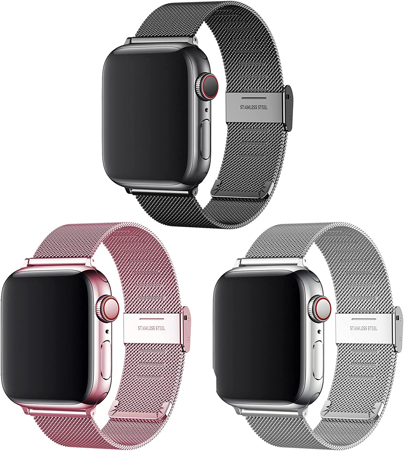 Magnetic iWatch Bands Compatible with Apple Watch 38mm 40mm 42mm 44mm, Adjustable Stainless Steel Mesh Metal Loop Sport Wristband for women and men Compatible with iWatch Series 6/5/4/3/2/1