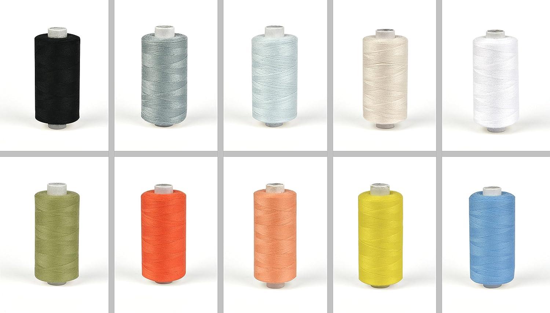 10 x N/ähgarn-Spulen 500 m Faden 10 Pastellfarben Polyester-N/ähmaschinengarn auf umweltfreundlicher Papp-Rolle Helmecke /& Hoffmann