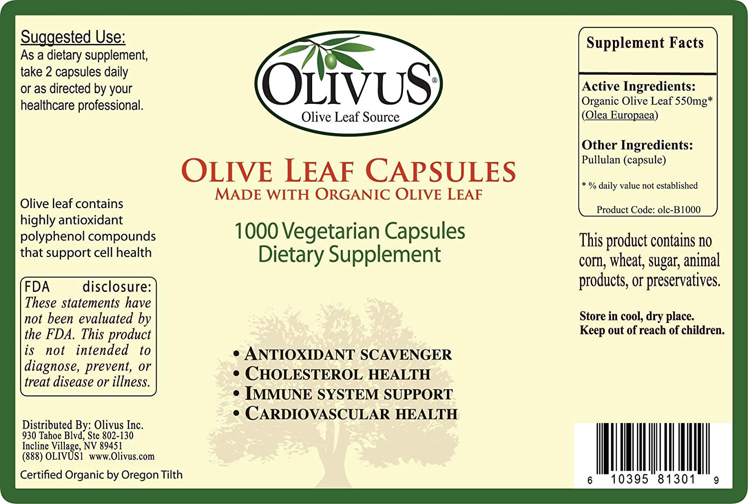 Olivus Olive Leaf Capsules Bulk 1000ct – 550 mg Vegetable Capsules – Pure Organic Olive Leaf Powder with No Fillers – Immune Support Antioxidant Supplement
