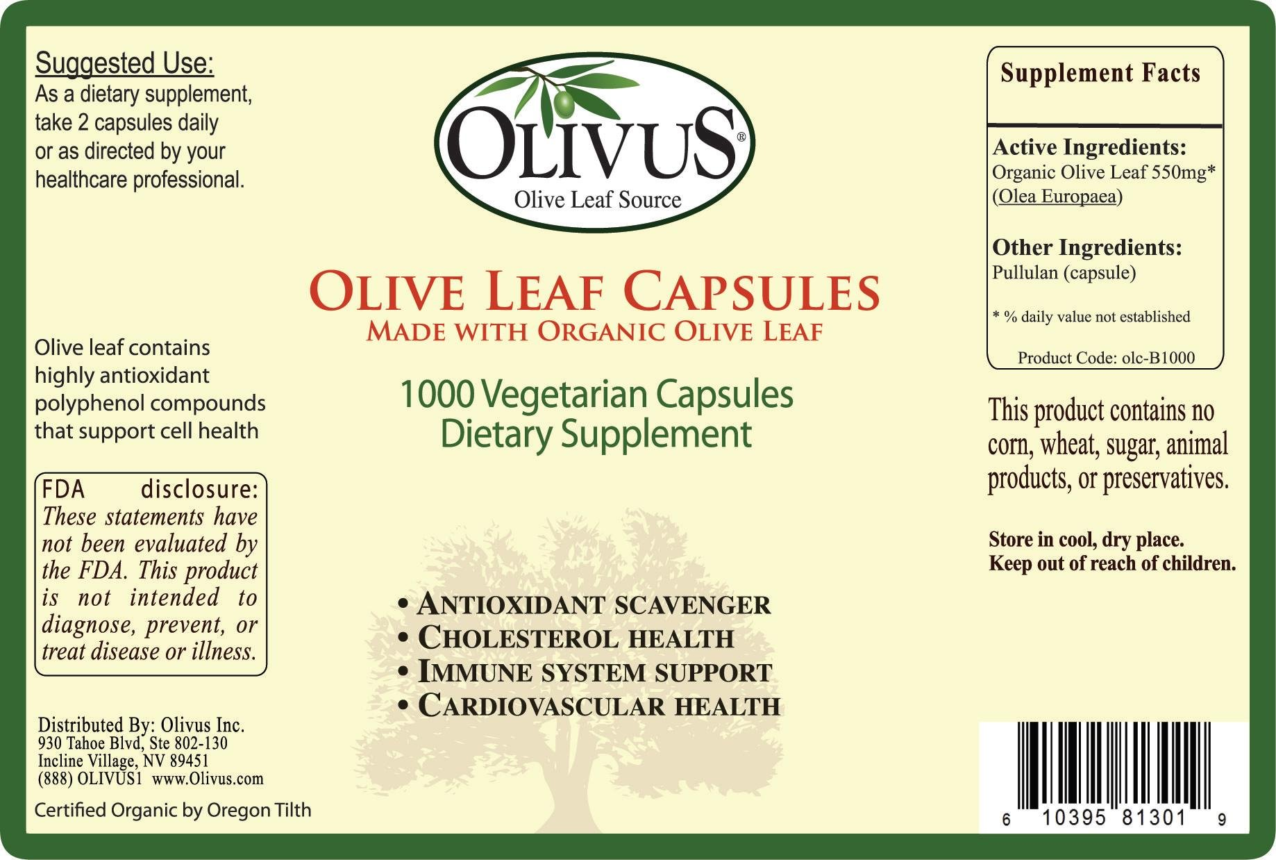 Olivus Olive Leaf Capsules Bulk 1000ct - 550 mg Vegetable Capsules - Pure Organic Olive Leaf Powder with No Fillers - Immune Support Antioxidant Supplement