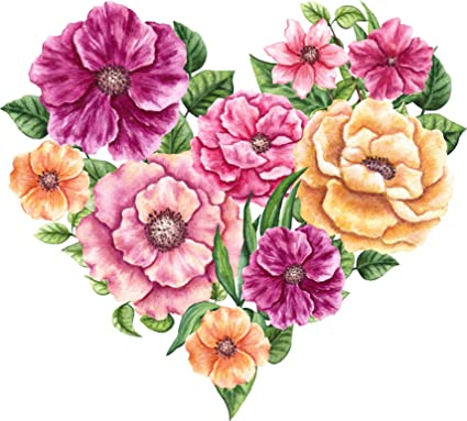 Amazon beautiful colorful floral paint design shape cartoon beautiful colorful floral paint design shape cartoon pink purple heart vinyl sticker 4quot mightylinksfo