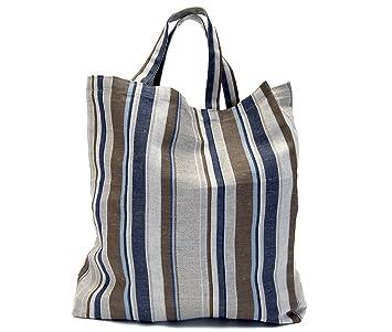 Bolsa de la compra – 45 x 35 x 10 cm – 50% lino / 50% algodón tela – a rayas bolsa de la compra