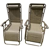 SET OF 2 Brown Garden Sun Lounger Relaxer Recliner Garden Chairs Weatherproof Textoline Folding And Multi Position With A Headrest