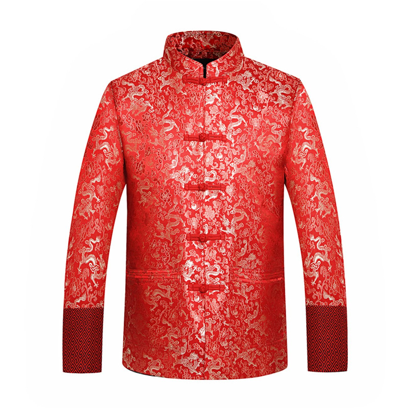 Men's O-neck Long Sleeve Stand Collar Chinese Dragon Silk Disk Buckle Embroidery TangJackets(XL,red)