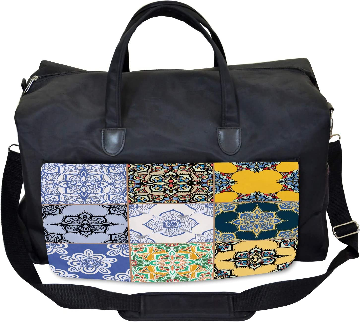 Boho Portugese Tiles Ambesonne Colorful Gym Bag Large Weekender Carry-on