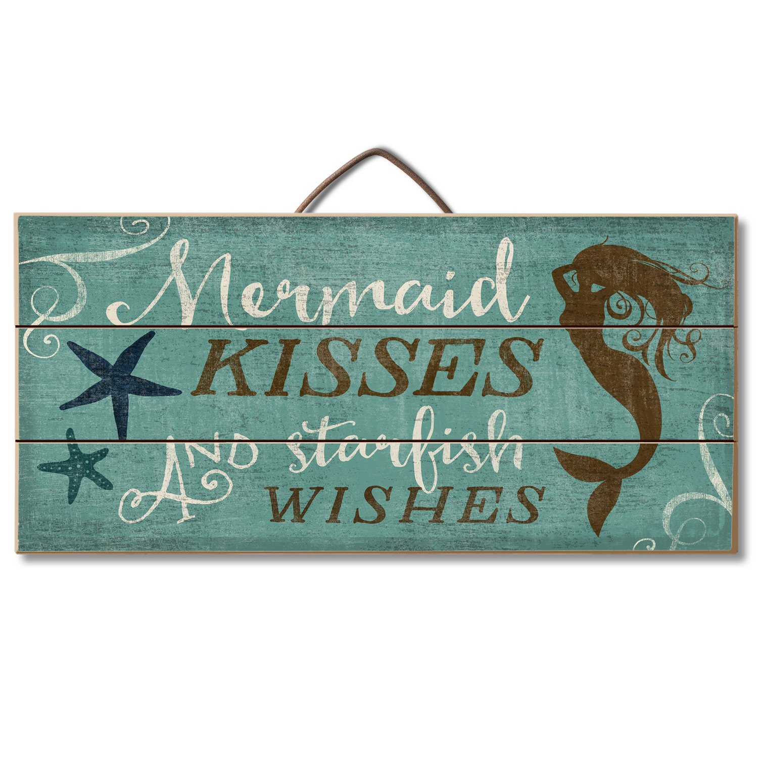 Highland Graphics Beach Decor Wood Sign Reads ''Mermaid Kisses and Starfish Wishes'' Table or Wall Decor