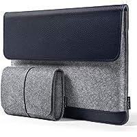 HOMIEE Housse pour Ordinateur Portable en PU Cuir et Feutre, Etui de Protection pour MacBook Air/Pro 13-13.3 Pouces/Ordinateur Ultra-Mince ou Professionnel, avec Une Pochette Supplémentaire(Bleu)