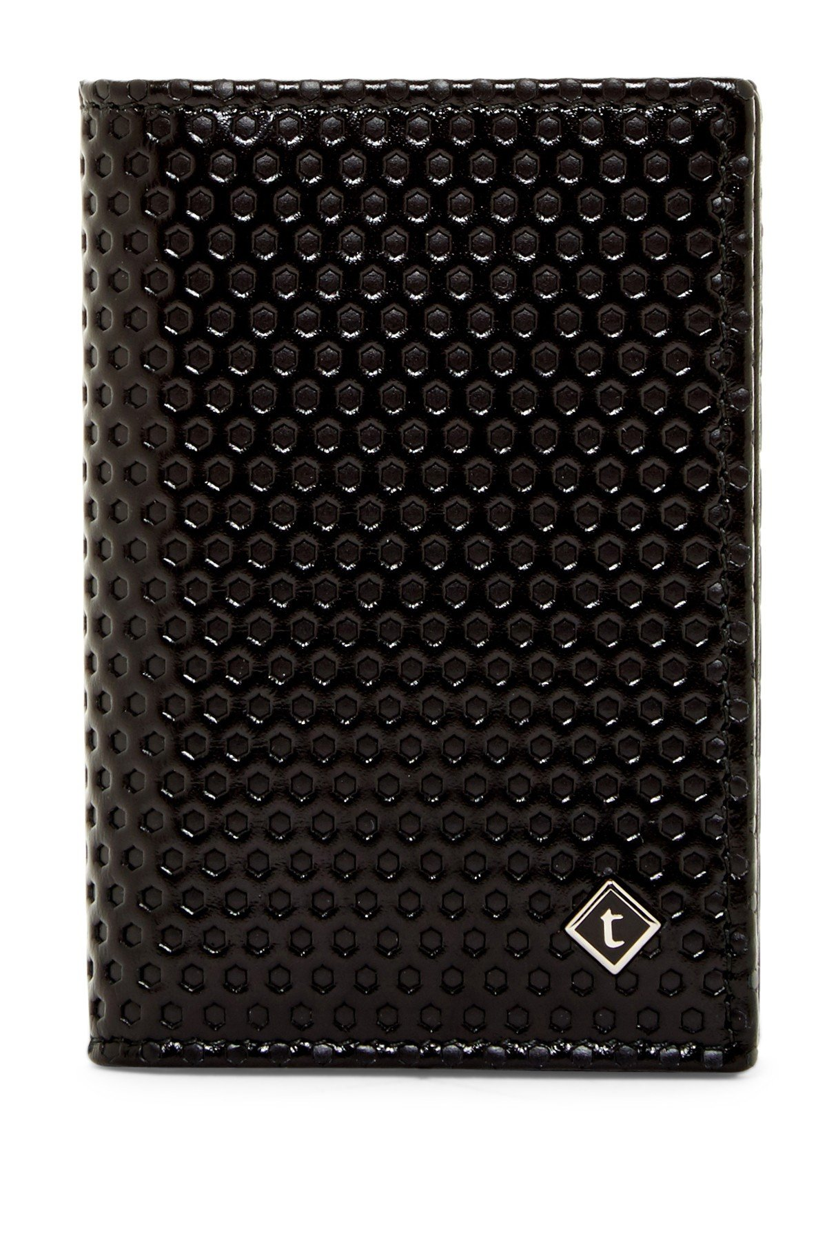 a.testoni Men's Nido Ape Calf Leather Business Card Case Wallet, OS, Nero