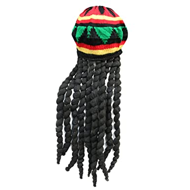 91325a3135a Image Unavailable. Image not available for. Colour  ADULT RASTA JAMAICAN HAT  BOB MARLEY KNITTED CAP WIG DREAD LOCKS CARIBBEAN FANCY Jamaican Hat