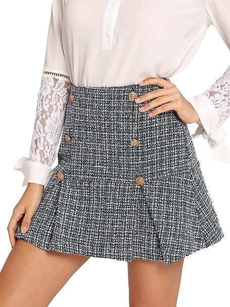 7f999d5494 MAKEMECHIC Women's Ruffle Hem Above Knee Mid Waist A Line Mini Skirt  Grey_Button XS