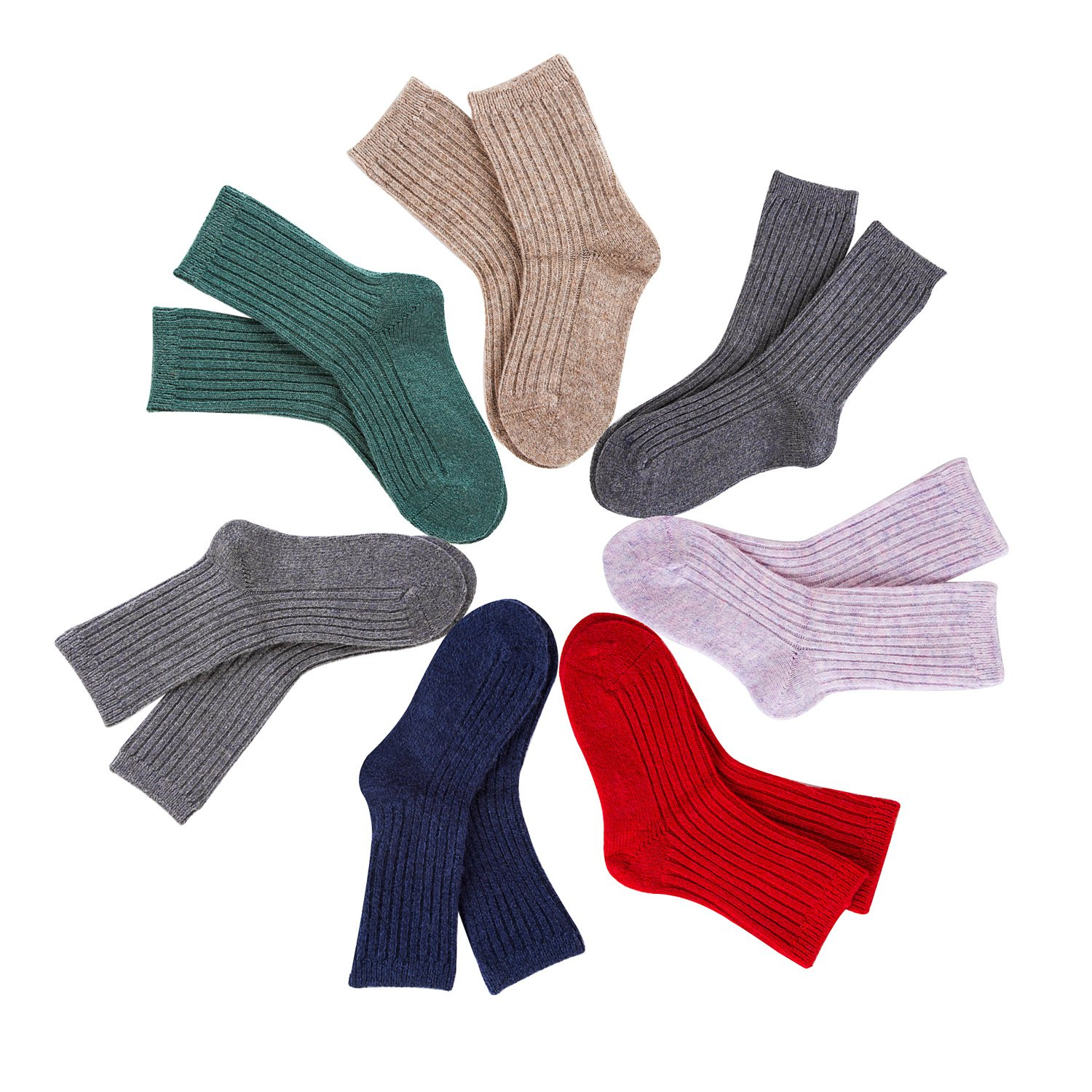 Lovely Annie 8 Pairs Children Wool Blend Crew Socks Size 5Y-8Y Girl Random Color by Lovely Annie