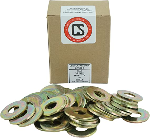 "A490 500 5//8/"" USS Thru-Hardened Grade 8 Flat Washer Yellow Zinc A325"